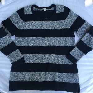 LL Bean Navy striped sweater XL